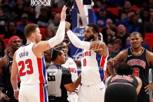 Mar 24, 2018; Detroit, MI, USA; Detroit Pistons center Andre Drummond (0) celebrates with forward Blake Griffin (23) after a play during the third quarter against Chicago Bulls center Cristiano Felicio (6) at Little Caesars Arena. Mandatory Credit: Raj Mehta-USA TODAY Sports