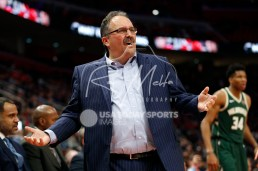 Feb 28, 2018; Detroit, MI, USA; Detroit Pistons head coach Stan Van Gundy reacts after a play during the third quarter against the Milwaukee Bucks at Little Caesars Arena. Mandatory Credit: Raj Mehta-USA TODAY Sports