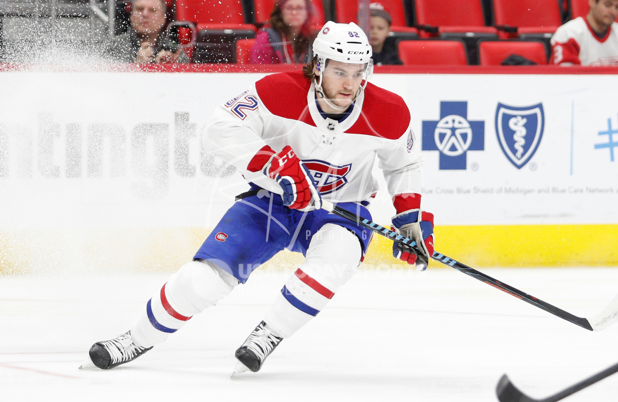 Apr 5, 2018; Detroit, MI, USA; Montreal Canadiens center Jonathan Drouin (92) skates on the ice during the first period against the Detroit Red Wings at Little Caesars Arena. Mandatory Credit: Raj Mehta-USA TODAY Sports