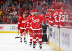 Apr 7, 2018; Detroit, MI, USA; Detroit Red Wings center Henrik Zetterberg (40) celebrates with teammates after scoring a goal during the first period against the New York Islanders at Little Caesars Arena. Mandatory Credit: Raj Mehta-USA TODAY Sports