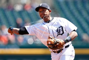 Apr 22, 2018; Detroit, MI, USA; Detroit Tigers shortstop Dixon Machado (49) throws the ball to first base for an out during the first inning against the Kansas City Royals at Comerica Park. Mandatory Credit: Raj Mehta-USA TODAY Sports