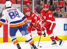 Apr 7, 2018; Detroit, MI, USA; Detroit Red Wings center Henrik Zetterberg (40) skates with the puck against New York Islanders defenseman Brandon Davidson (88) during the second period at Little Caesars Arena. Mandatory Credit: Raj Mehta-USA TODAY Sports