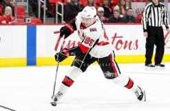 Mar 31, 2018; Detroit, MI, USA; Ottawa Senators center Matt Duchene (95) takes a shot during the third period against the Detroit Red Wings at Little Caesars Arena. Mandatory Credit: Raj Mehta-USA TODAY Sports