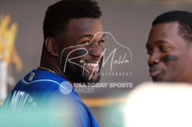 Apr 22, 2018; Detroit, MI, USA; Kansas City Royals right fielder Abraham Almonte (45) smiles in the dugout after hitting a grand slam home run during the sixth inning against the Detroit Tigers at Comerica Park. Mandatory Credit: Raj Mehta-USA TODAY Sports