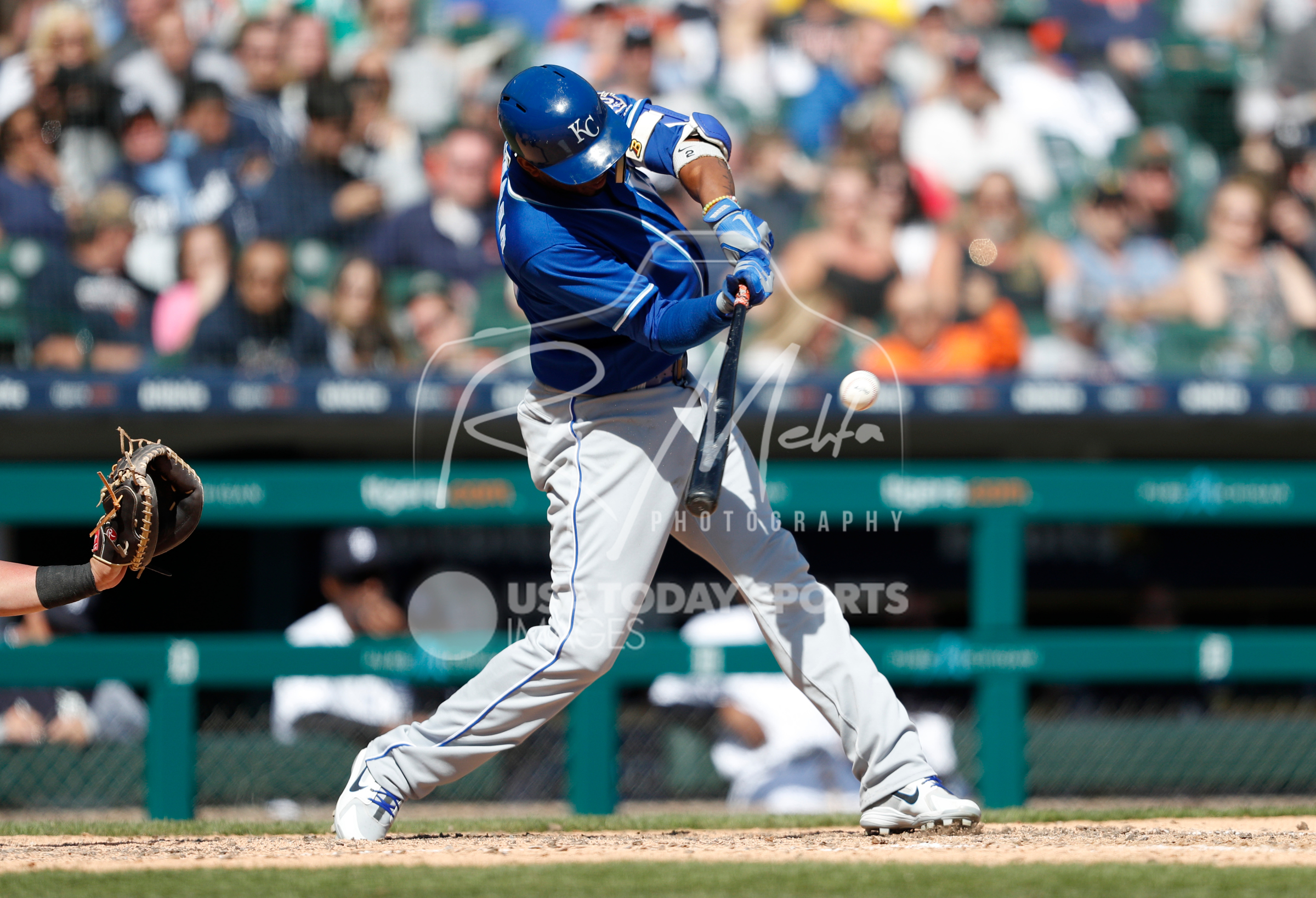 Apr 22, 2018; Detroit, MI, USA; Kansas City Royals shortstop Alcides Escobar (2) gets a hit for a single during the eighth inning against the Detroit Tigers at Comerica Park. Mandatory Credit: Raj Mehta-USA TODAY Sports