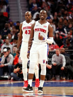 Apr 6, 2018; Detroit, MI, USA; Detroit Pistons guard Reggie Jackson (1) smiles after a play during the third quarter against the Dallas Mavericks at Little Caesars Arena. Mandatory Credit: Raj Mehta-USA TODAY Sports