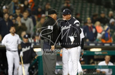 Apr 13, 2018; Detroit, MI, USA; Detroit Tigers manager Ron Gardenhire argues with umpire Fieldin Culbreth (25) after a call during the ninth inning against the New York Yankees at Comerica Park. Mandatory Credit: Raj Mehta-USA TODAY Sports