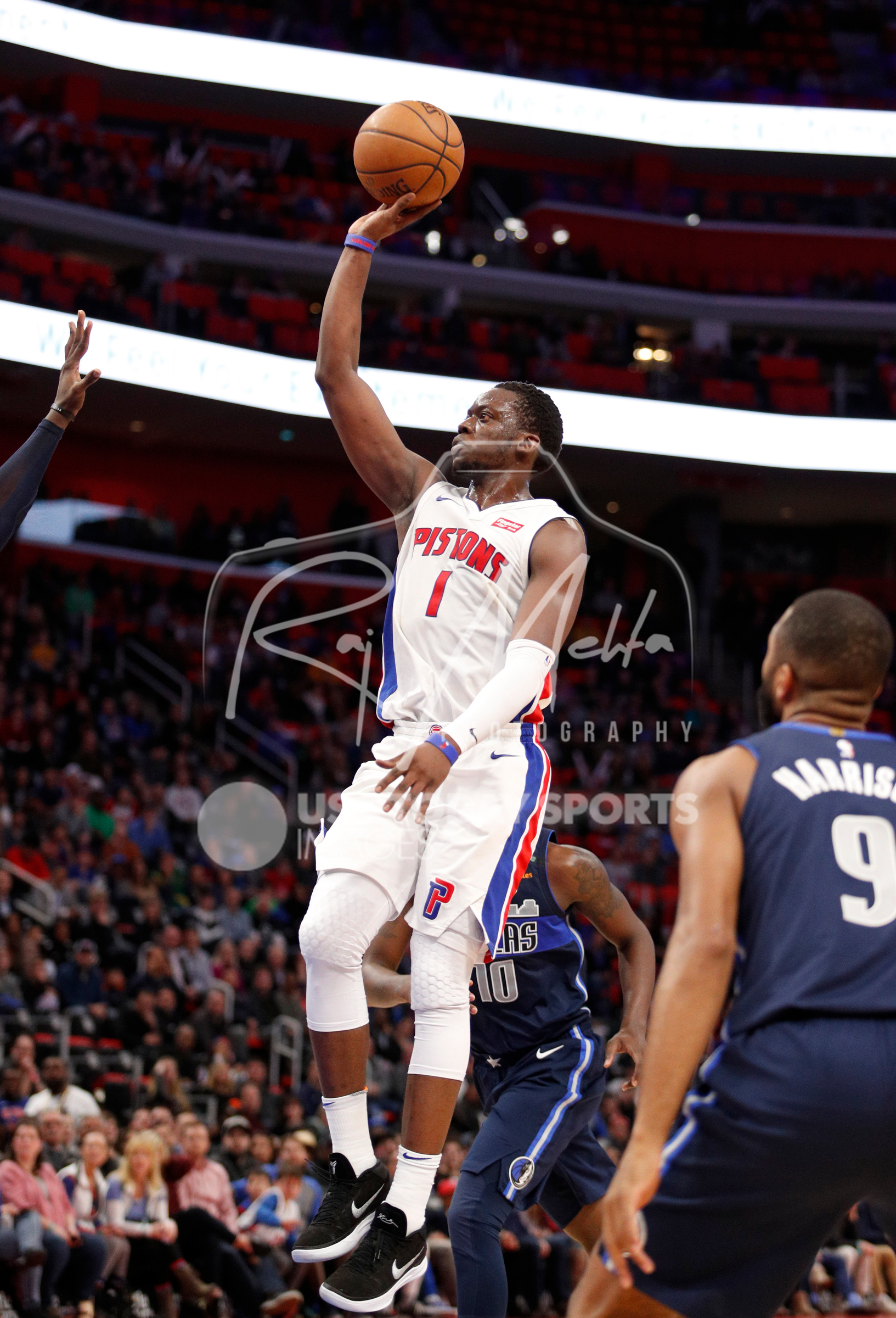 Apr 6, 2018; Detroit, MI, USA; Detroit Pistons guard Reggie Jackson (1) takes a shot during overtime against the Dallas Mavericks at Little Caesars Arena. Mandatory Credit: Raj Mehta-USA TODAY Sports