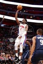 Apr 6, 2018; Detroit, MI, USA; Detroit Pistons guard Reggie Jackson (1) takes a shot during overtime against the Dallas Mavericks at Little Caesars Arena. Mandatory Credit: Raj Mehta-USA TODAY Sports