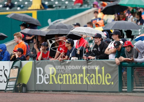 Jul 22, 2018; Detroit, MI, USA; Fans wait for the game to begin during a weather dealy before the game between the Detroit Tigers and the Boston Red Sox at Comerica Park. Mandatory Credit: Raj Mehta-USA TODAY Sports