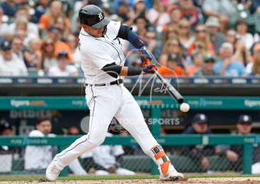 Aug 1, 2018; Detroit, MI, USA; Detroit Tigers shortstop Jose Iglesias (1) get a hit for a RBI double during the second inning against the Cincinnati Reds at Comerica Park. Mandatory Credit: Raj Mehta-USA TODAY Sports