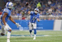 Aug 17, 2018; Detroit, MI, USA; Detroit Lions quarterback Matthew Stafford (9) passes the ball during the first quarter against the New York Giants at Ford Field. Mandatory Credit: Raj Mehta-USA TODAY Sports