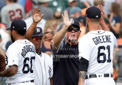Aug 1, 2018; Detroit, MI, USA; Detroit Tigers manager Ron Gardenhire (dark shirt) celebrates with relief pitcher Shane Greene (61) after the game against the Cincinnati Reds at Comerica Park. Mandatory Credit: Raj Mehta-USA TODAY Sports