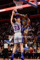 Dec 1, 2018; Detroit, MI, USA; Detroit Pistons forward Blake Griffin (23) goes up for the block against Golden State Warriors center Damian Jones (15) during the third quarter at Little Caesars Arena. Mandatory Credit: Raj Mehta-USA TODAY Sports