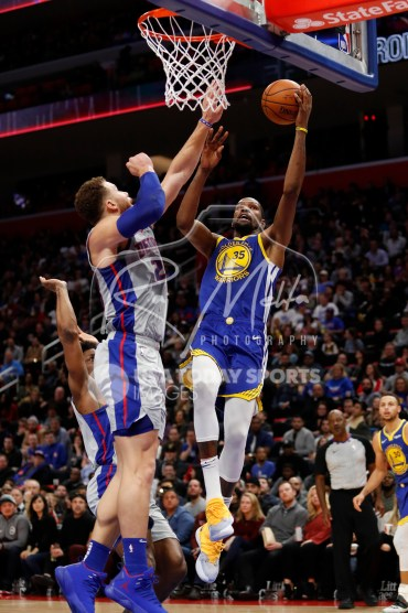 Dec 1, 2018; Detroit, MI, USA; Golden State Warriors forward Kevin Durant (35) goes up for a shot against Detroit Pistons forward Blake Griffin (23) during the fourth quarter at Little Caesars Arena. Mandatory Credit: Raj Mehta-USA TODAY Sports