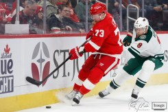 Feb 27, 2020; Detroit, Michigan, USA; Detroit Red Wings left wing Adam Erne (73) gets hooked by Minnesota Wild center Mikko Koivu (9) during the first period at Little Caesars Arena. Mandatory Credit: Raj Mehta-USA TODAY Sports