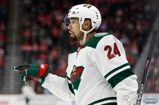 Feb 27, 2020; Detroit, Michigan, USA; Minnesota Wild defenseman Matt Dumba (24) celebrates after scoring a goal during the first period against the Detroit Red Wings at Little Caesars Arena. Mandatory Credit: Raj Mehta-USA TODAY Sports