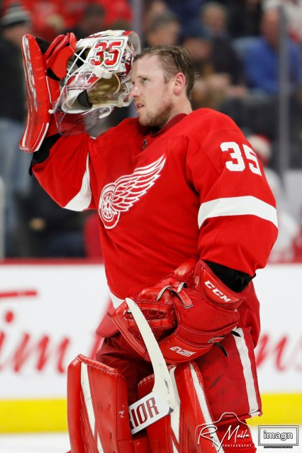Feb 27, 2020; Detroit, Michigan, USA; Detroit Red Wings goaltender Jimmy Howard (35) puts his helmet on during the first period against the Minnesota Wild at Little Caesars Arena. Mandatory Credit: Raj Mehta-USA TODAY Sports