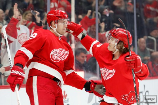 Feb 27, 2020; Detroit, Michigan, USA; Detroit Red Wings right wing Anthony Mantha (39) celebrates with left wing Tyler Bertuzzi (59) after scoring a goal during the second period against the Minnesota Wild at Little Caesars Arena. Mandatory Credit: Raj Mehta-USA TODAY Sports
