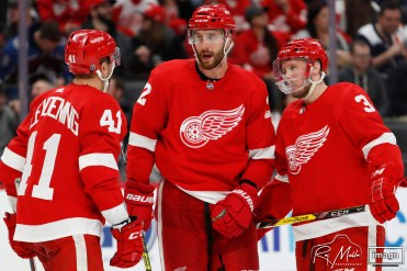 Mar 2, 2020; Detroit, Michigan, USA; Detroit Red Wings defenseman Patrik Nemeth (22) talks with center Luke Glendening (41) and defenseman Alex Biega (3) during the third period against the Colorado Avalanche at Little Caesars Arena. Mandatory Credit: Raj Mehta-USA TODAY Sports
