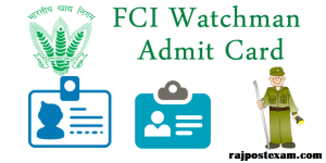 FCI Watchman admit card rajasthan