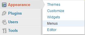 Screenshot of WordPress Dashboard highlighting the link Menus under Appearance