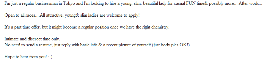 Tokyo Craigslist Jobs and Scams : Looking for companion