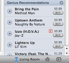 "The new ""zone selector"" drop down in the bottom right of the iTunes window (where it says ""Living Room"")"