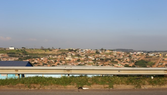 The rolling hills of Campinas taken from the car.