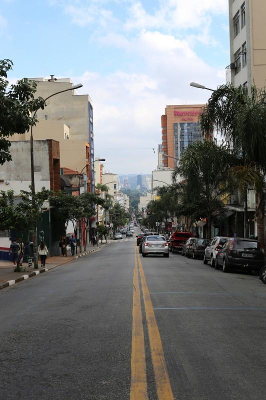 Down a street in Sao Paulo.