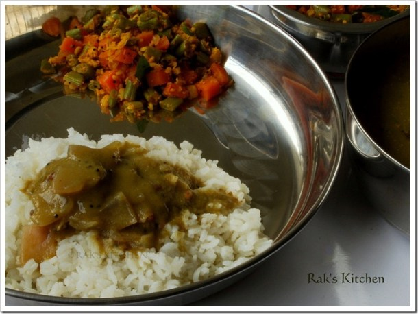 Gravy with rice and poriyal