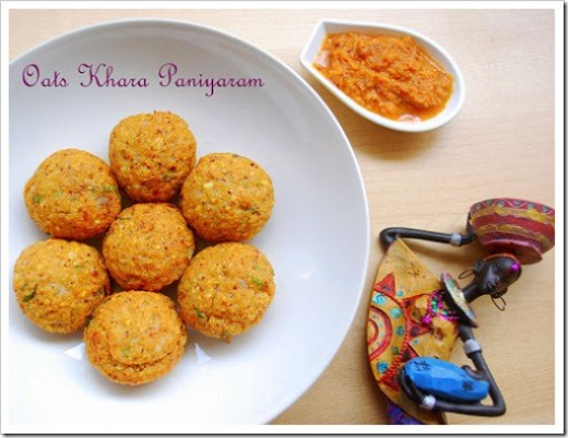 Indian Oats Recipes-Khara paniyaram