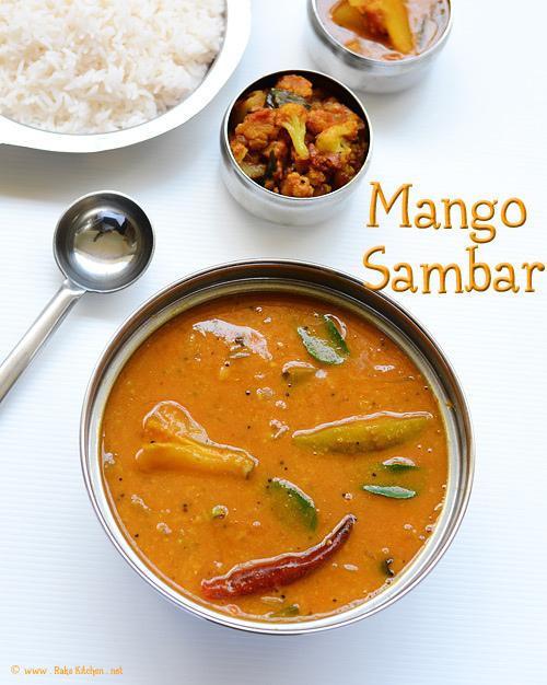 Mango sambar, rice, cauliflower curry