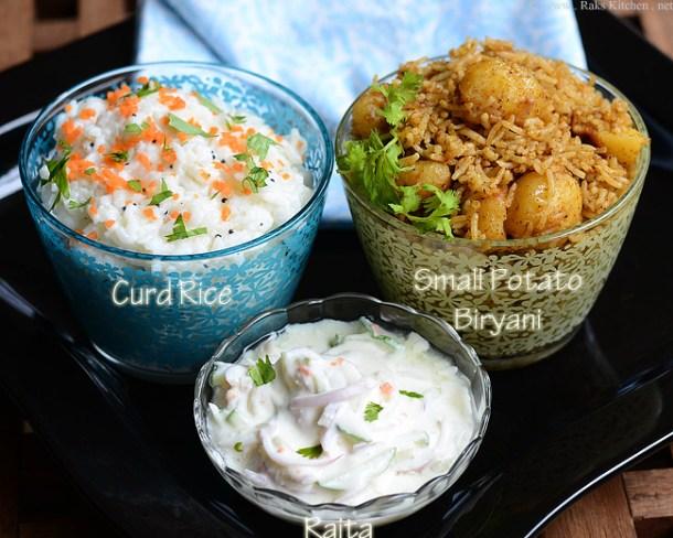 small potato biryani, curd rice, raita