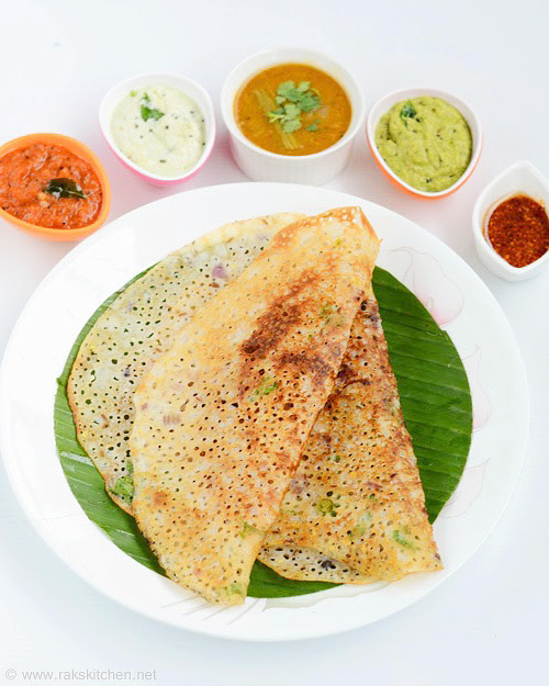 Rava dosa with 5 side dishes