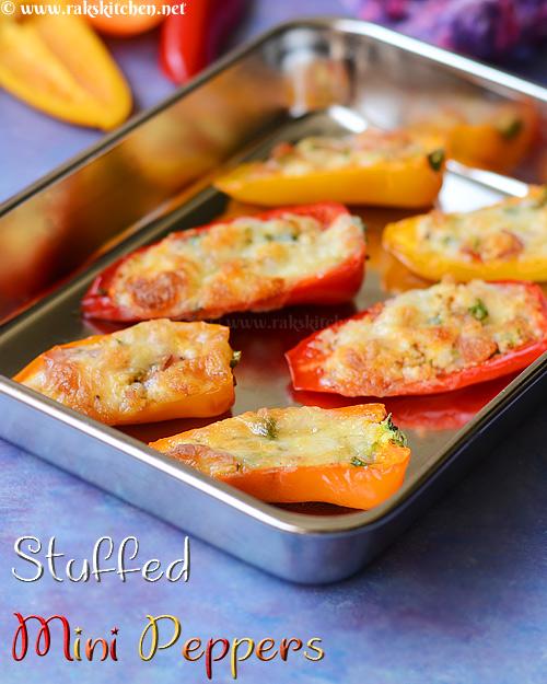 paneer stuffed mini peppers