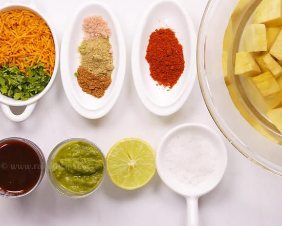 ingredientes de batata doce chaat