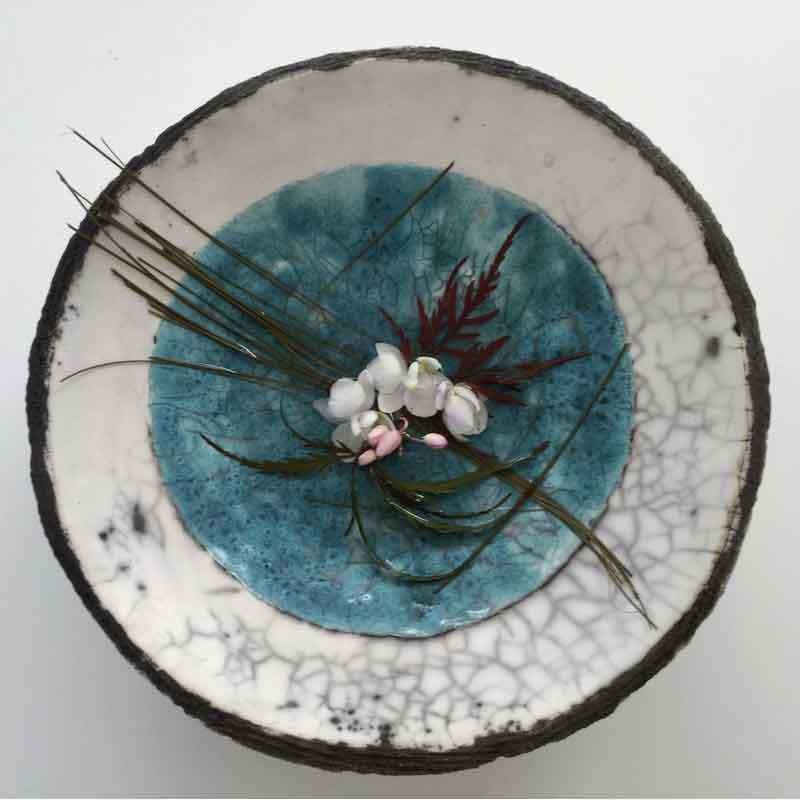 plat raku ikebana ceramique