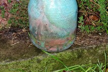 Raku Vase - blue, turquoise, cooper and red