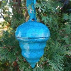 Raku Christmas Ornament, Blue
