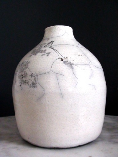 white rakupottery vase with fractals
