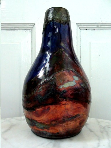 Raku pottery vase called Climate Change