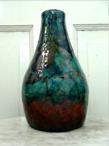 Raku pottery vase, blue and copper