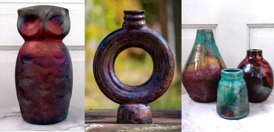 Beautiful collection of raku pottery art