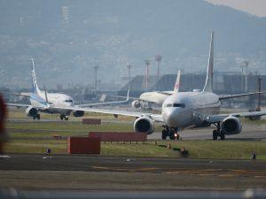 千里川土手からの伊丹空港の眺め