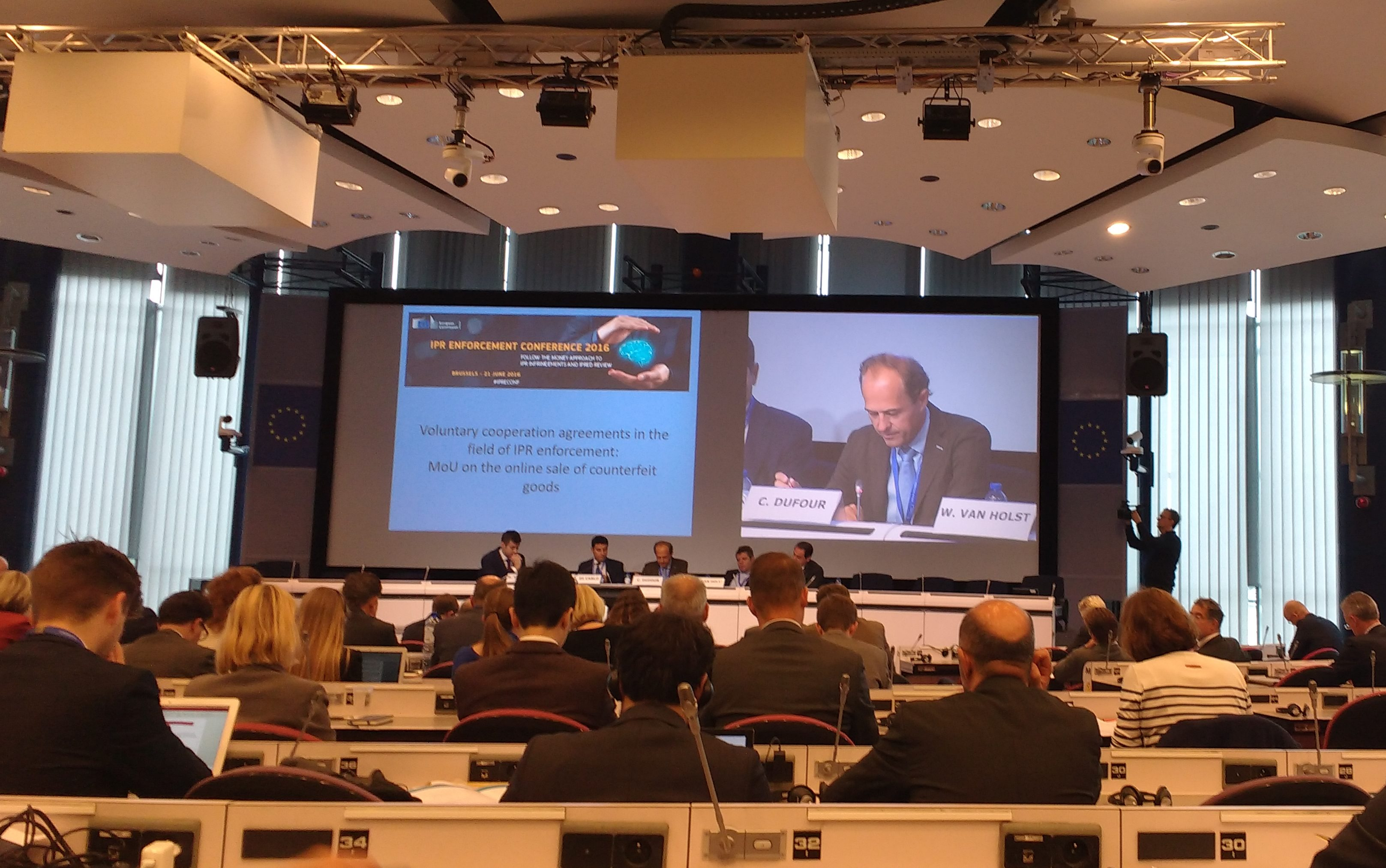 Cedric Dufour delivers a speech at the European Commission on anti-counterfeit measures.