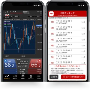 Screen capture from Rakuten Bank's new FX Virtual Trade app, which lets users try their hand at investing.