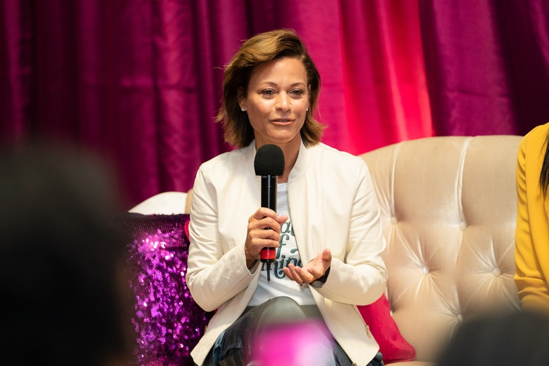 """Sonya Curry urged the girls to lift up the women in their lives instead of bringing other women down. """"Keep that chain going as women. Bind together. Bond together and just be a friend."""""""