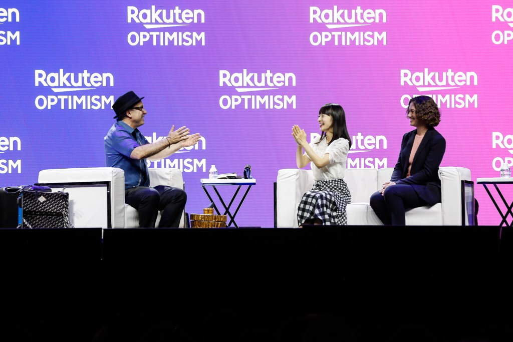 Marie Kondo (center) insists that Kondo insists that the KonMari Method™ isn't just about throwing things away but holding on to what sparks joy.