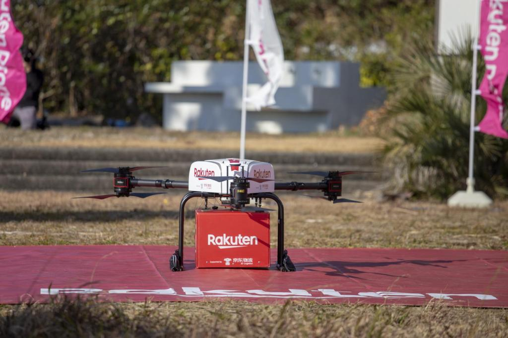 The drone automatically releases its package upon arrival, before returning to its point of origin.